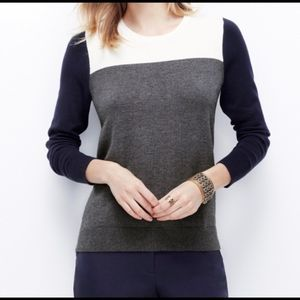 Ann Taylor Sweater Colorblock Crewneck Long Sleeve